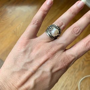 Natural baroque Pearl silver cocktail boho ring